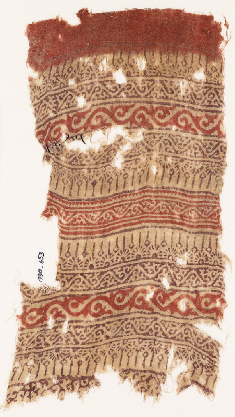Textile fragment with bands of half-rosettes and vines