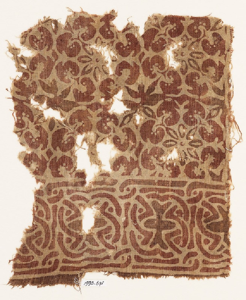 Textile fragment with interlace and interlocking rosettes (EA1990.671, front            )