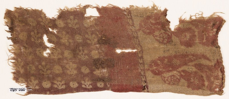 Textile fragment with leaves, flowers, plants, and circles (EA1990.682, front            )