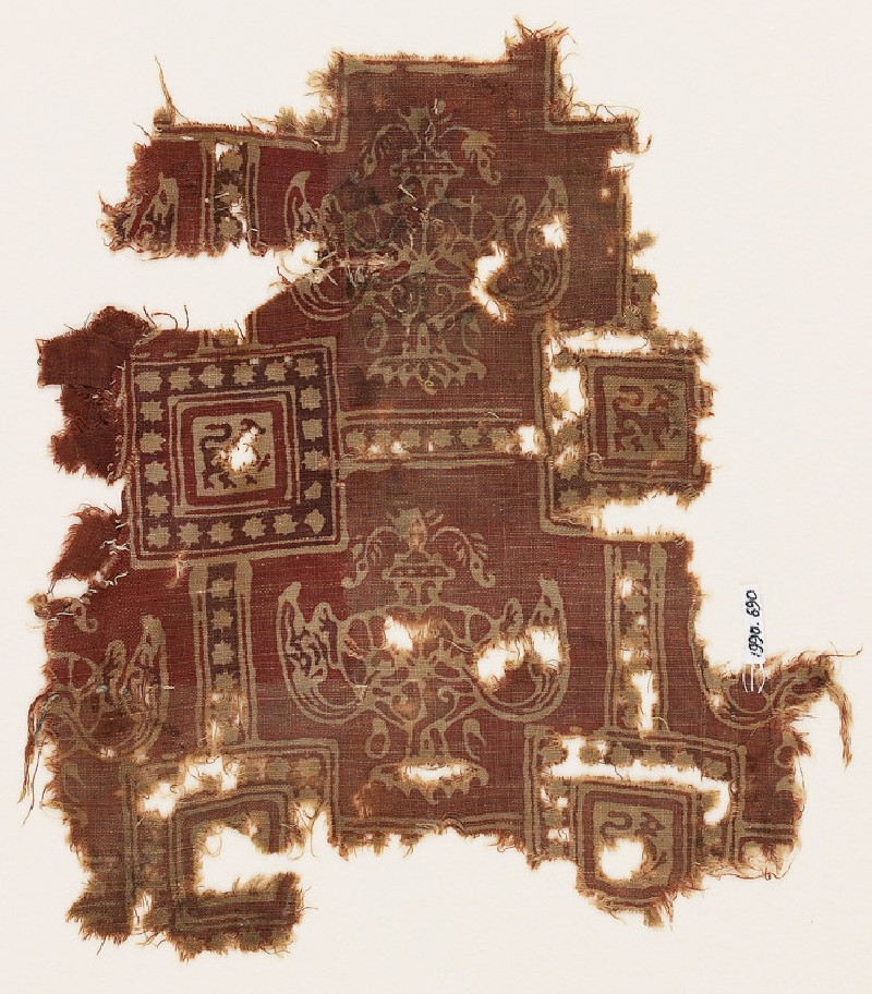 Textile fragment with squares, griffins or dragons, and urns