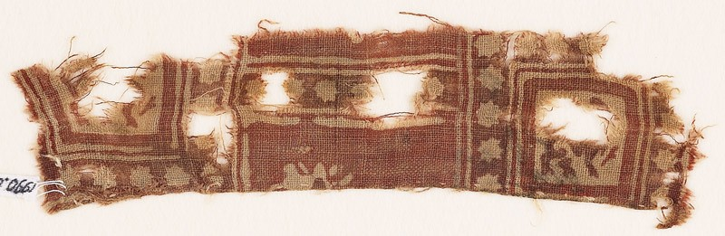 Textile fragment with squares, stars, and griffins (EA1990.691, front            )