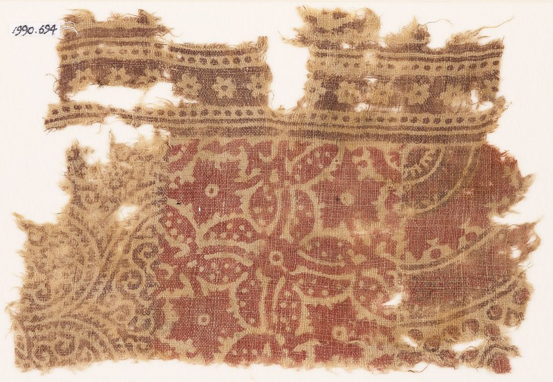 Textile fragment with plants and rosettes (EA1990.694, front            )
