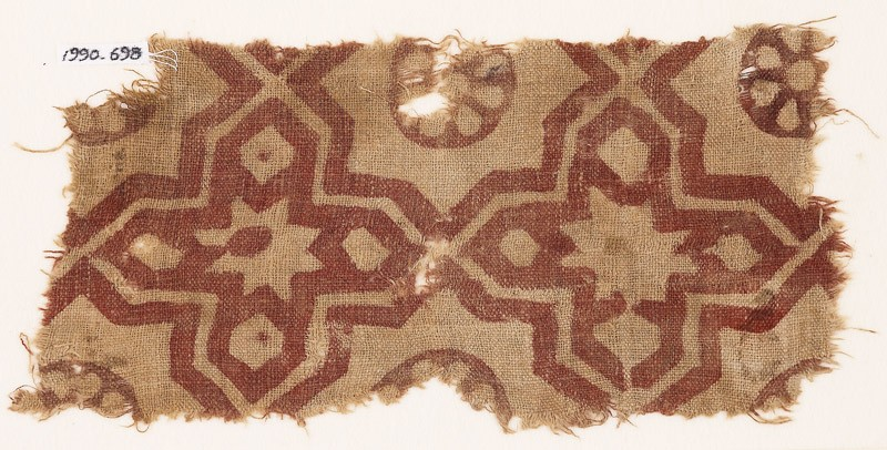 Textile fragment with four-pointed stars (front            )
