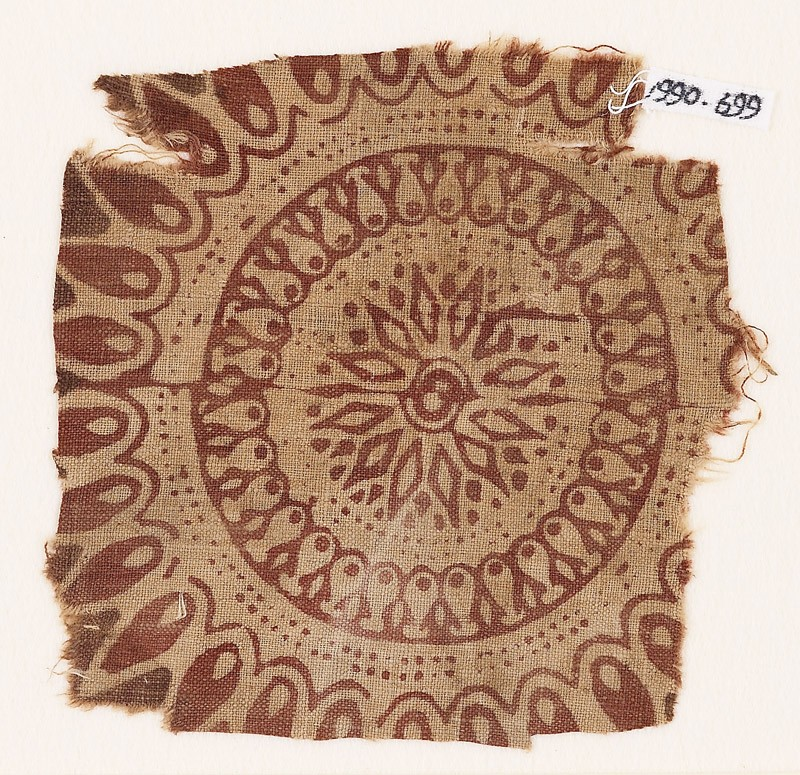 Textile fragment with an elaborate rosette, circles, and petals (EA1990.699, front            )