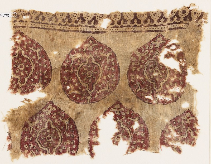 Textile fragment with tear-drop medallions