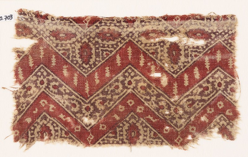 Textile fragment with chevrons, hexagons, and flowers (EA1990.703, front            )