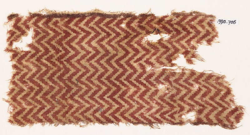 Textile fragment with chevrons (front            )