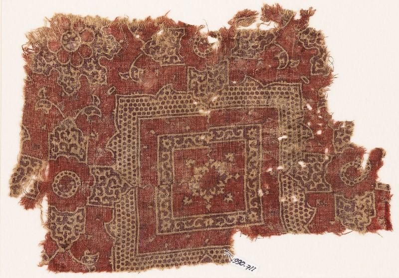 Textile fragment with squares, elaborate quatrefoils, and flowers