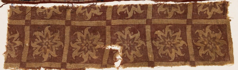 Textile fragment with squares and flowers (EA1990.714, front            )