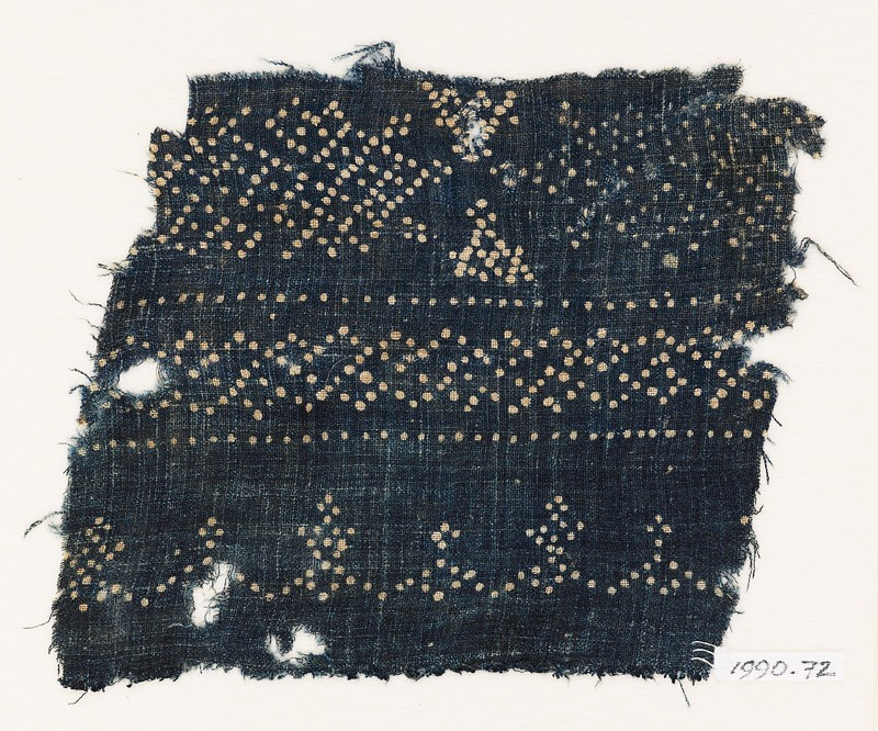 Textile fragment with dots arranged in geometric patterns (EA1990.72, front           )