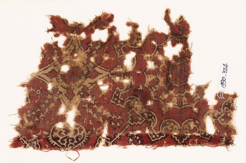Textile fragment with medallion and linked floral design