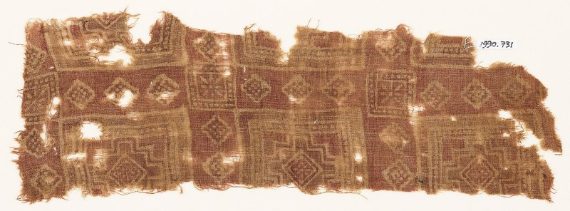 Textile fragment with squares and stepped squares (front            )