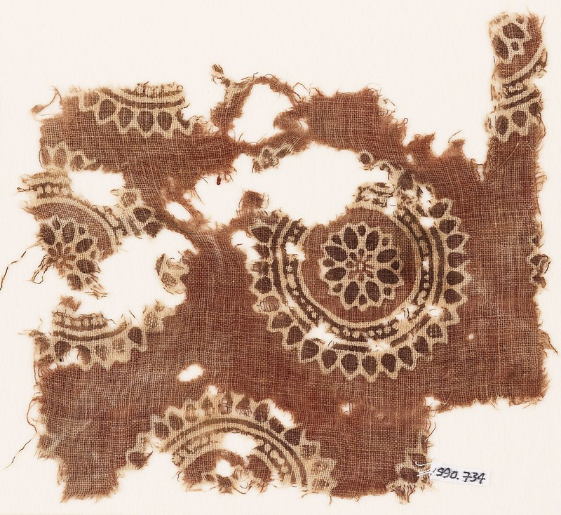Textile fragment with rosettes (front            )