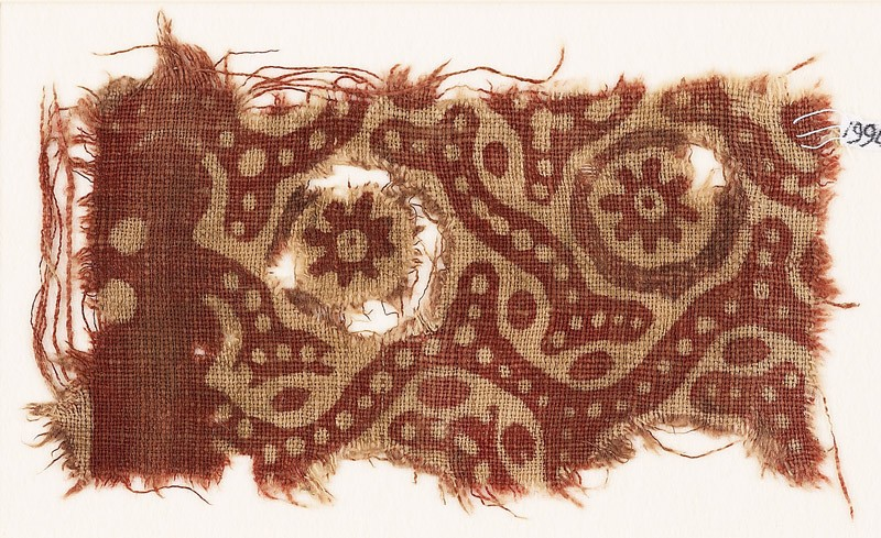 Textile fragment with rosettes and tendrils (EA1990.737, front            )