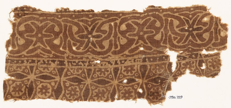 Textile fragment with interlace and four-pointed stars (EA1990.739, front            )