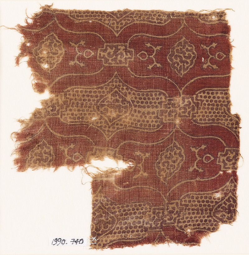 Textile fragment with linked cartouches and medallions (front            )