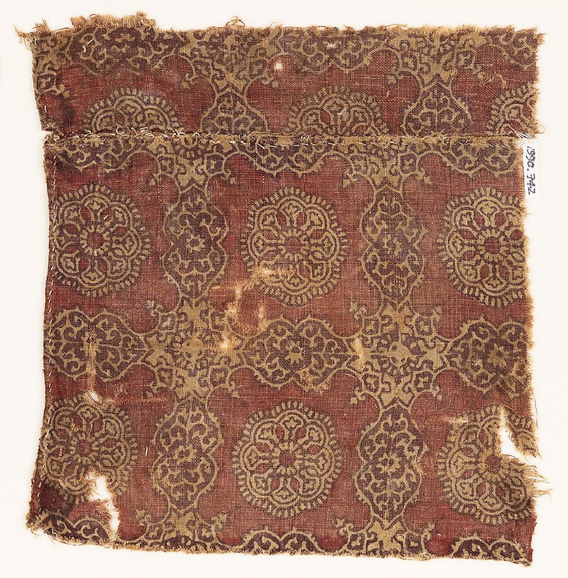 Textile fragment with linked cartouches and stars (EA1990.742, front            )