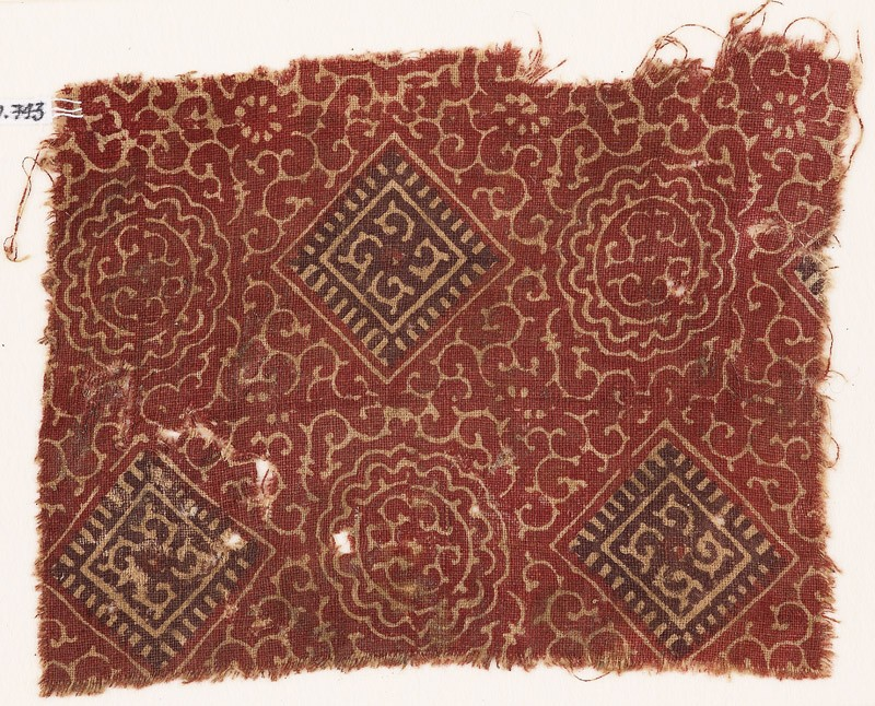 Textile fragment with medallions and tendrils (EA1990.743, front            )