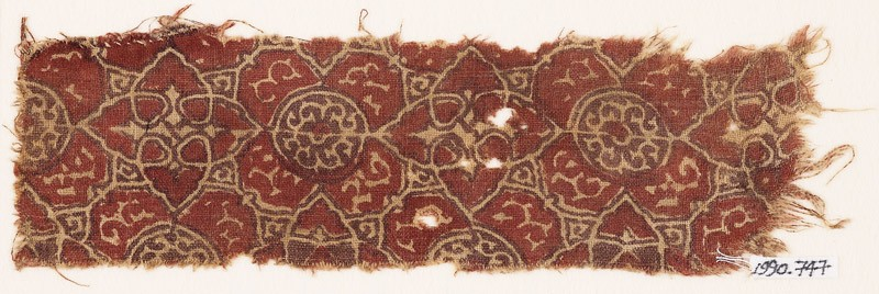 Textile fragment with elaborate quatrefoils