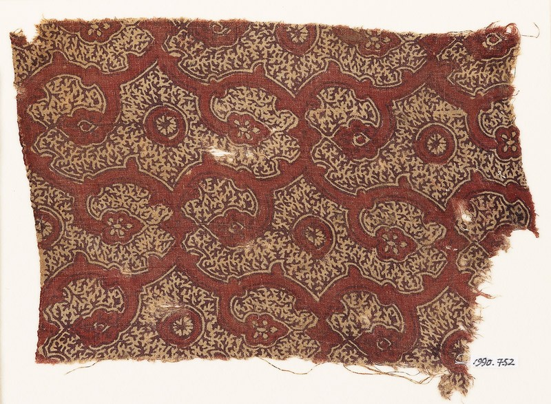 Textile fragment with tendrils and flower-heads