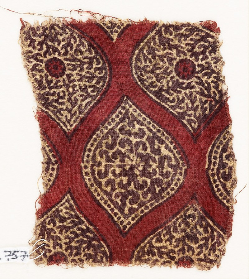 Textile fragment with pointed ovals (EA1990.757, front            )