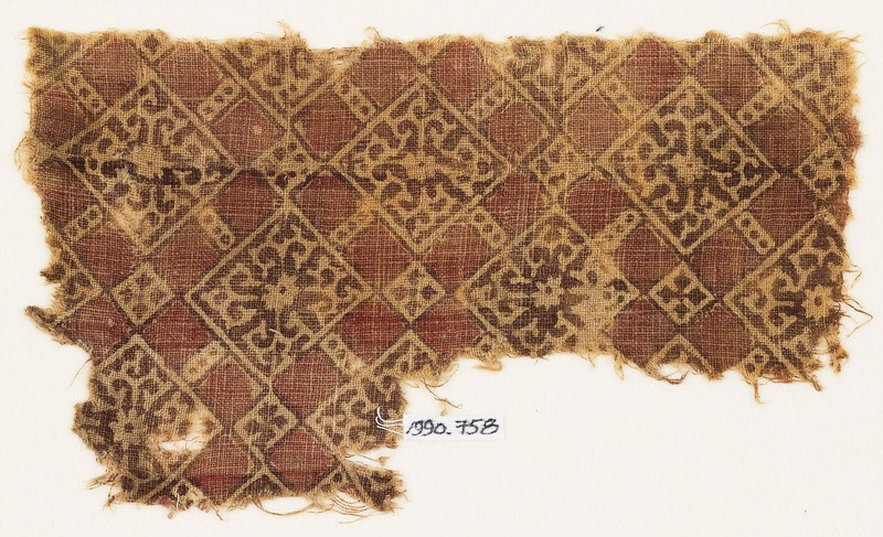 Textile fragment with linked squares, flowers, and tendrils