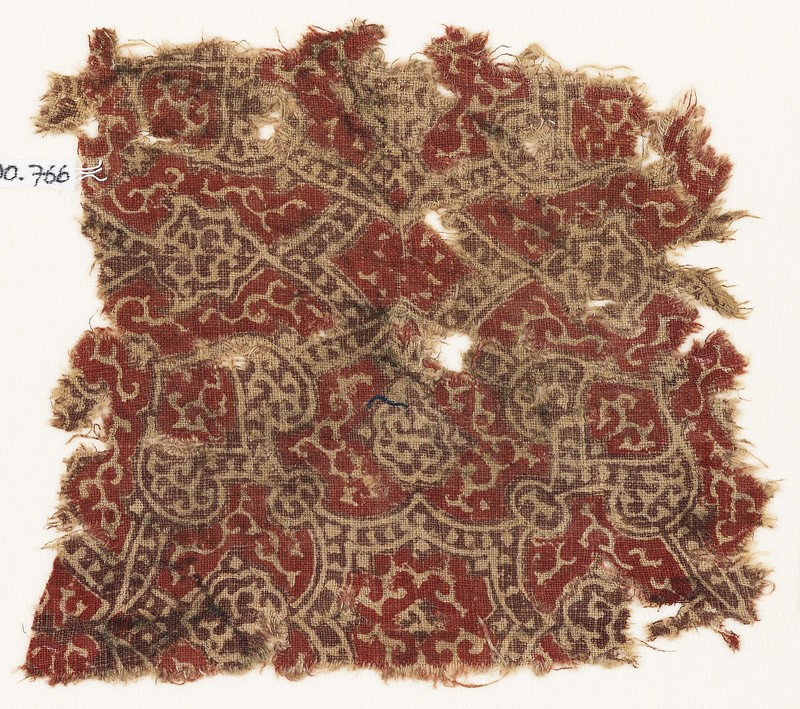 Textile fragment with linked medallions