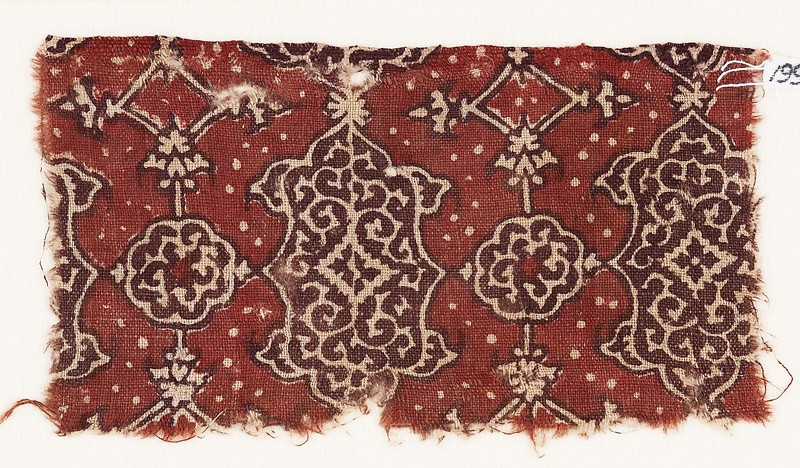 Textile fragment with cartouches and rosettes