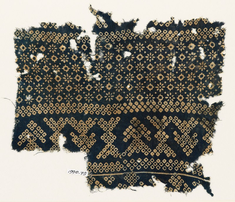 Textile fragment with rosettes, lobed squares, and bandhani, or tie-dye, imitation (EA1990.79, front           )