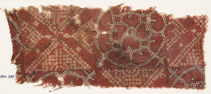 Textile fragment with bandhani, or tie-dye, imitation and interlocking circles (EA1990.795, front            )