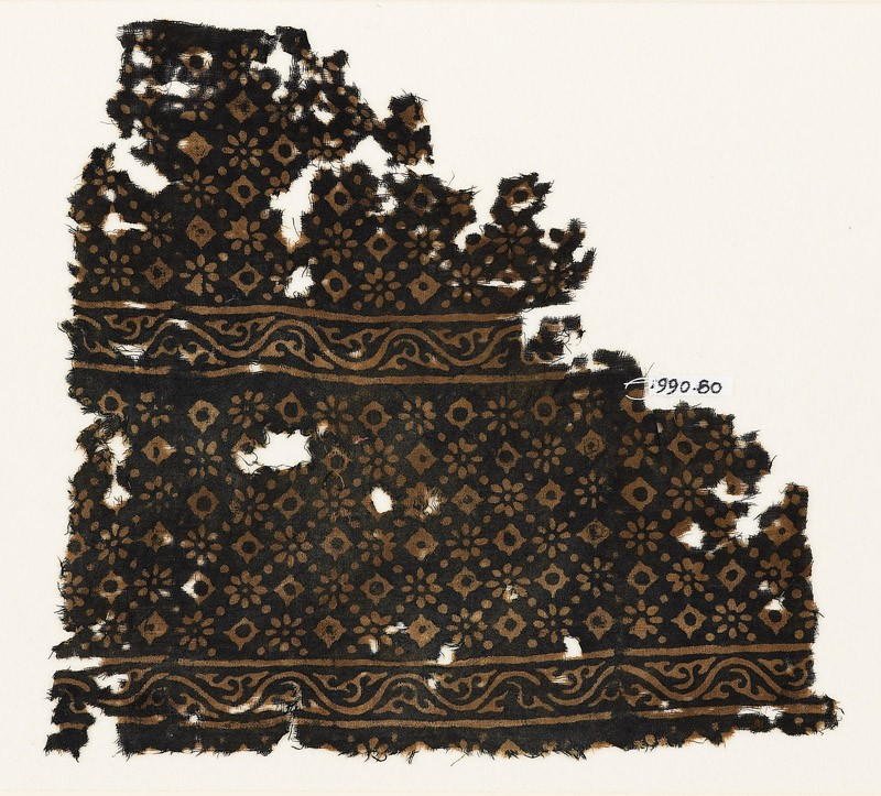 Textile fragment with rosettes, lobed squares, and dots (EA1990.80, front           )