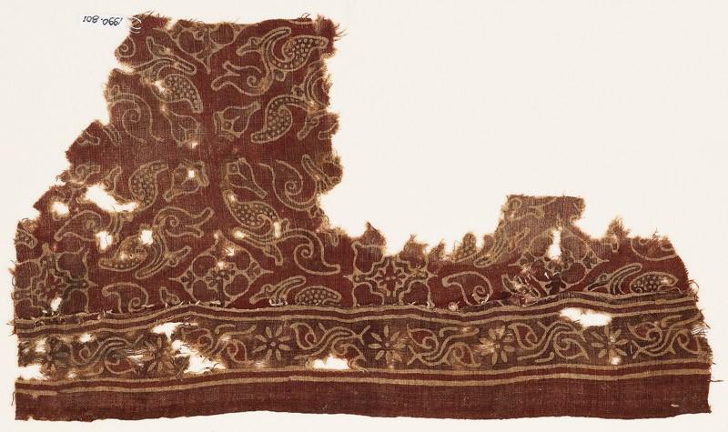 Textile fragment with leaves and quatrefoils (EA1990.801, front            )
