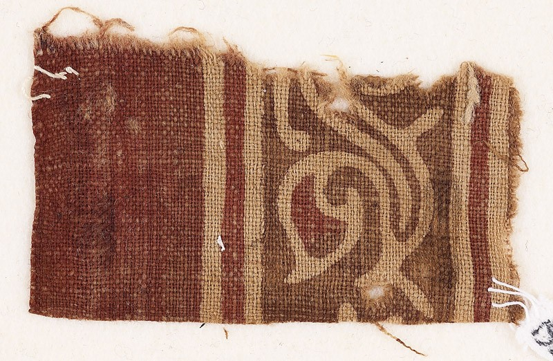 Textile fragment with tendril and leaves (front            )