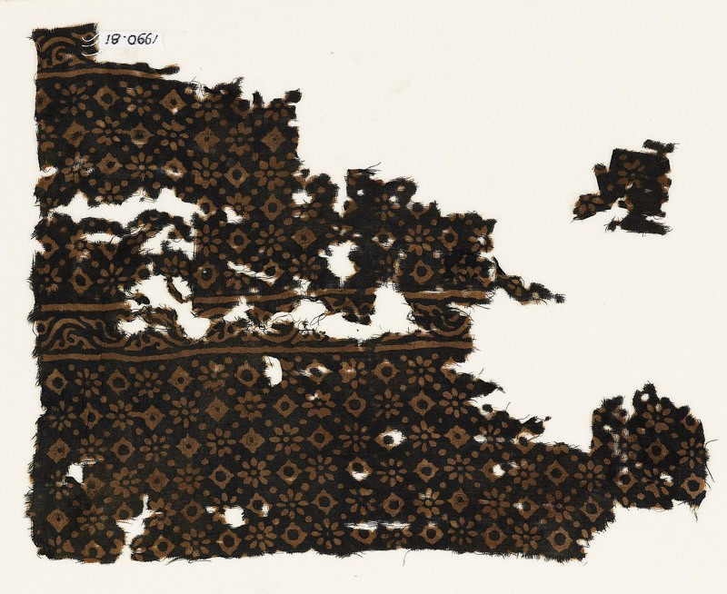 Two textile fragments with rosettes, lobed squares, and dots (front           )