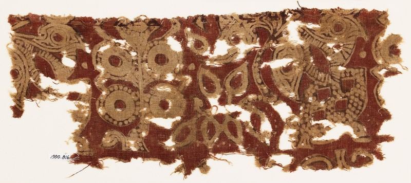 Textile fragment with stylized plants (EA1990.816, front            )