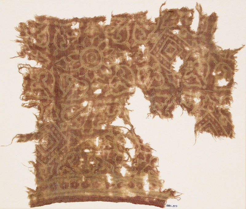 Textile fragment with rosettes, squares, and leaves
