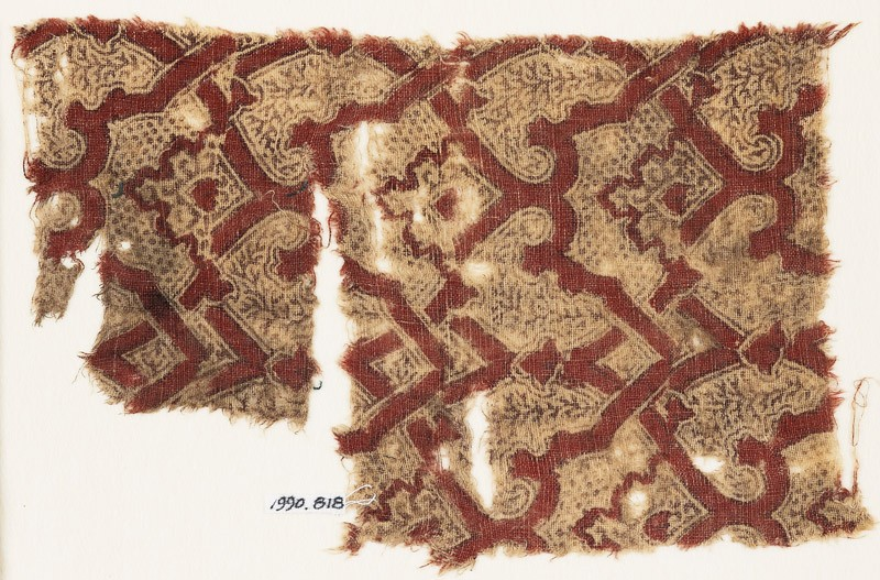 Textile fragment with interlacing tendrils (EA1990.818, front            )