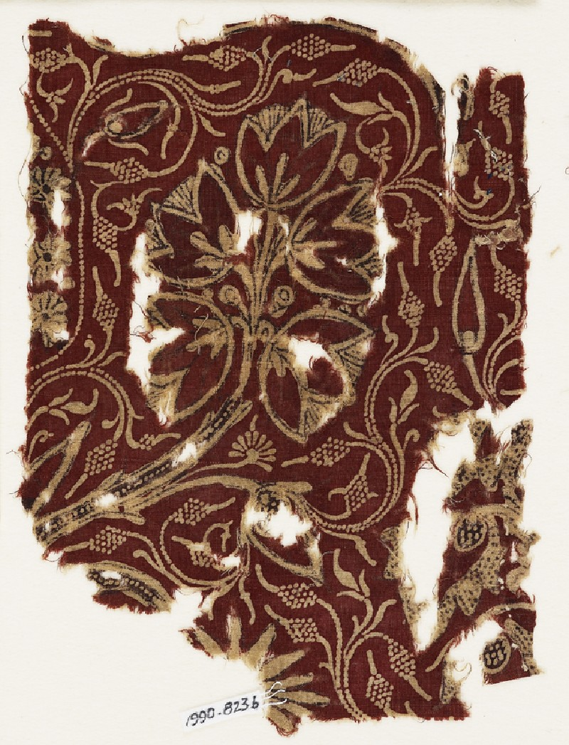 Textile fragment with flowering trees (EA1990.823.b, front              )
