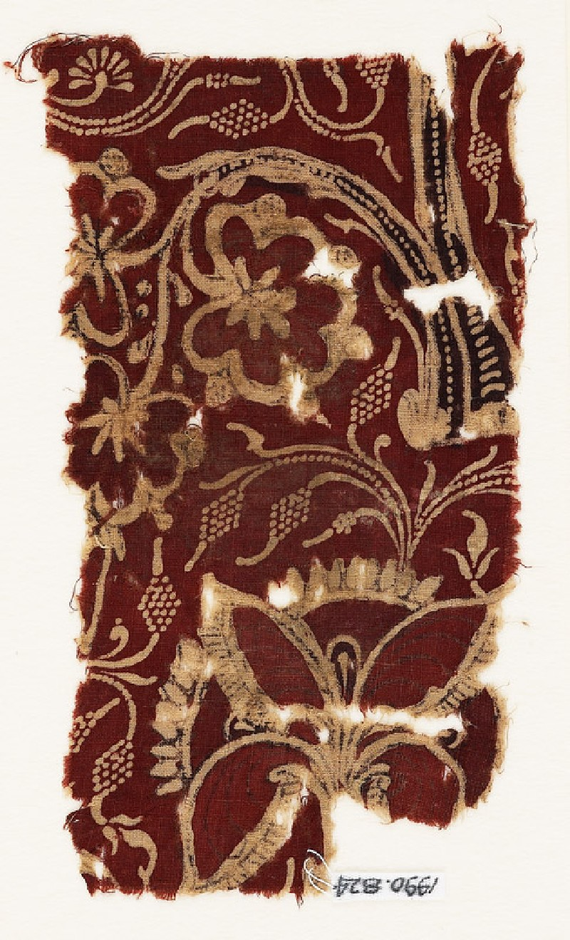 Textile fragment with flowering trees (EA1990.824, front            )
