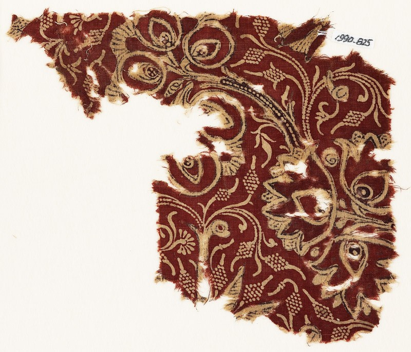 Textile fragment with flowering trees (EA1990.825, front            )