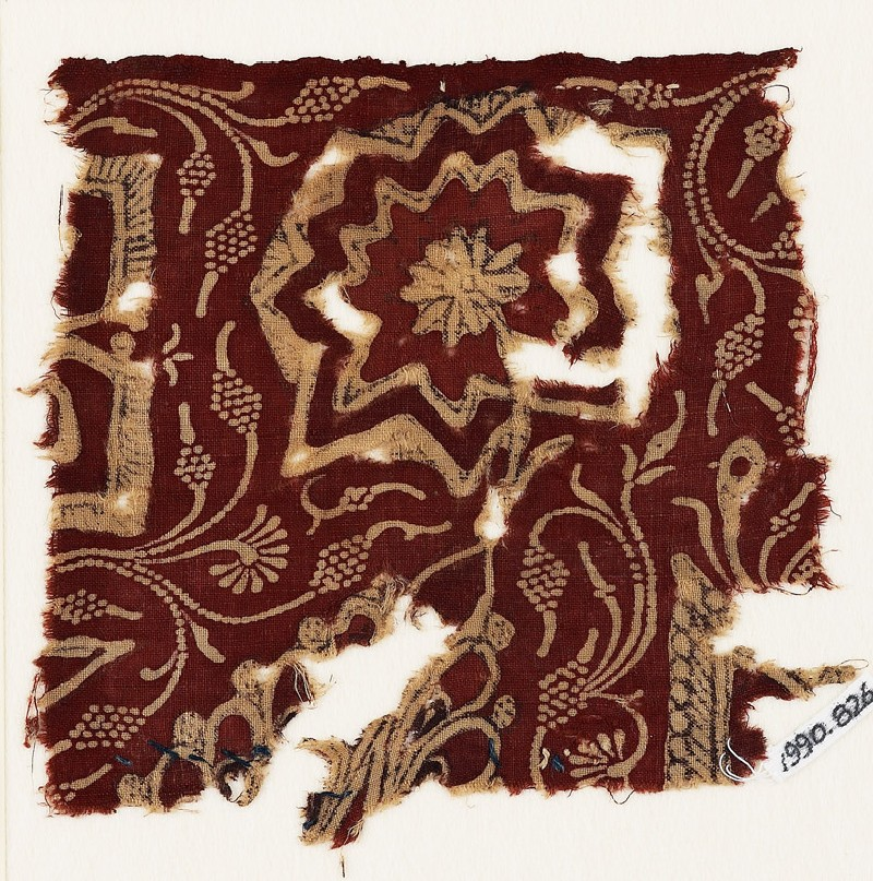 Textile fragment with stylized flowers (EA1990.826, front            )