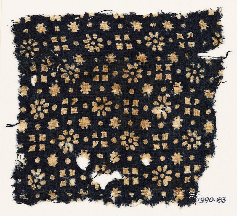 Textile fragment with rosettes, dots, floral shapes, and squares (EA1990.83, front           )