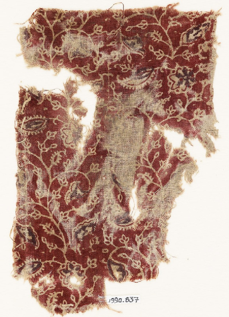 Textile fragment with tendrils, leaves, and flower-heads