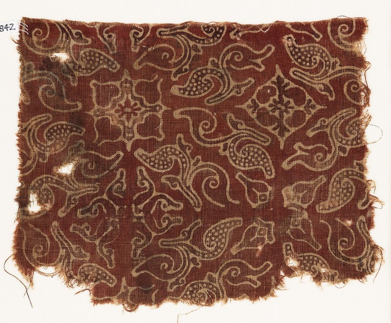 Textile fragment with leaves and quatrefoils (EA1990.842, front            )