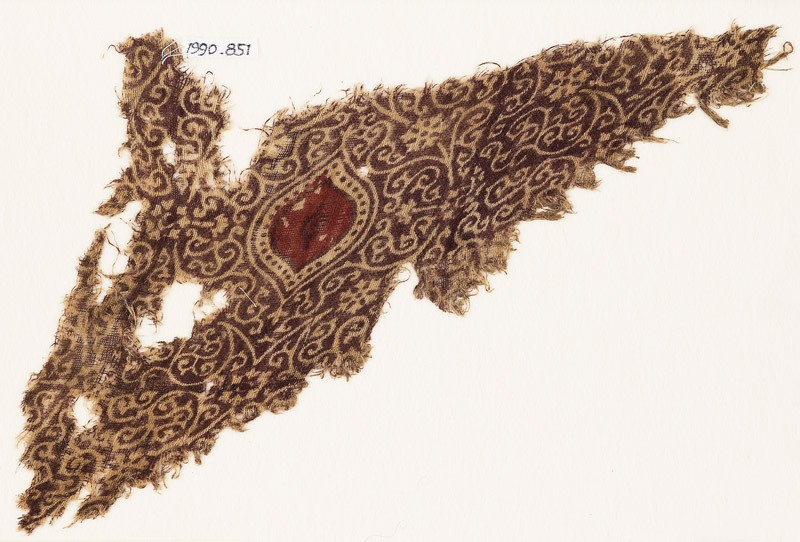 Textile fragment with and oval, tendrils, and flowers