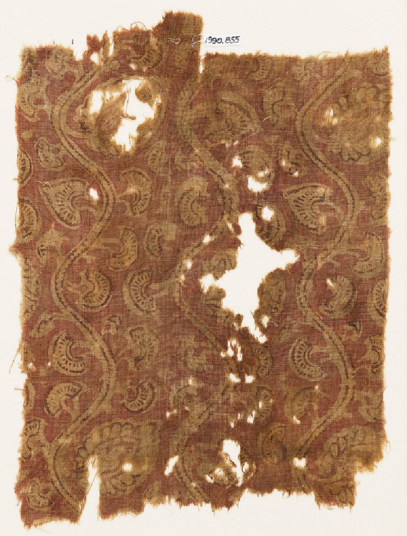 Textile fragment with stem, flowers, and leaves