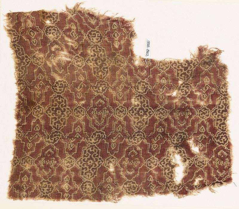 Textile fragment with linked cartouches (EA1990.862, front            )