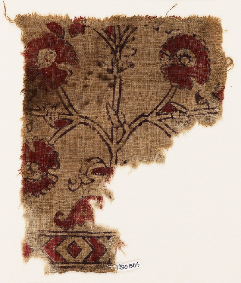 Textile fragment with flower (front            )