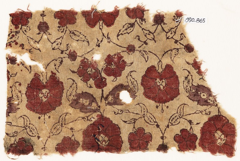 Textile fragment with flowers (EA1990.865, front            )