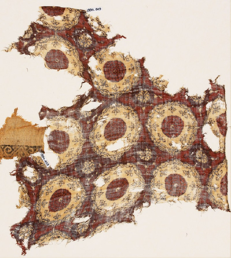 Textile fragment with linked circles and interlace